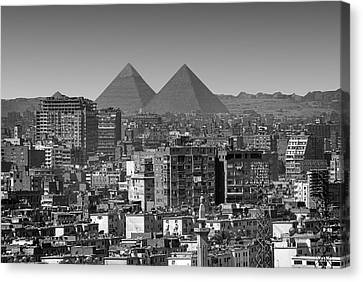 Cityscape Of Cairo, Pyramids, Egypt Canvas Print by Anik Messier