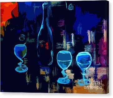 Cityscape Wine Pop Art Canvas Print by Lisa Kaiser