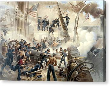 Civil War Naval Battle Canvas Print by War Is Hell Store