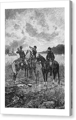 Civil War Soldiers On Horseback Canvas Print by War Is Hell Store