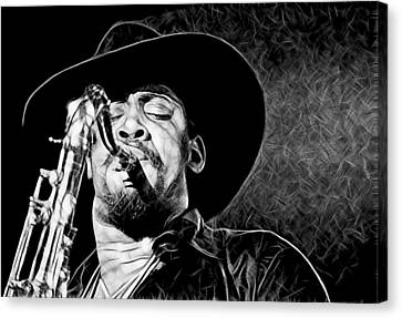 Clarence Clemons Collection Canvas Print by Marvin Blaine