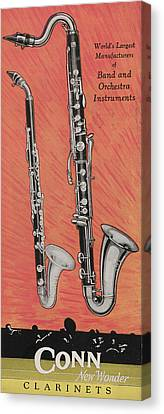 Clarinet And Giant Boehm Bass Canvas Print by American School