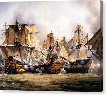 Clash Between English Temeraire And French Redoubtable Ships During Battle Of Trafalgar Canvas Print by Unknown