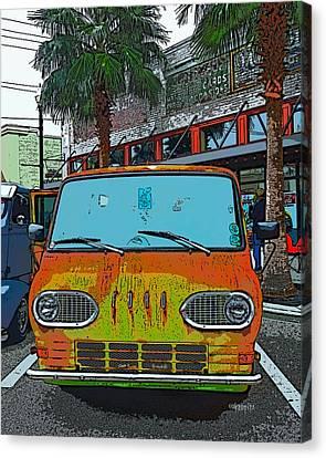 Classic 61 Ford Econoline Station Bus Van Canvas Print by Rebecca Korpita