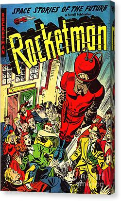 Classic Comic Book Cover Rocketman June Canvas Print by Wingsdomain Art and Photography