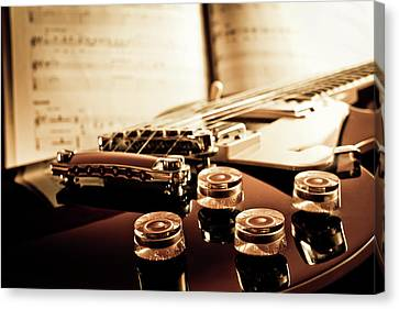 Classic Guitar Still Life With Notes Canvas Print by A Driempixel Photo