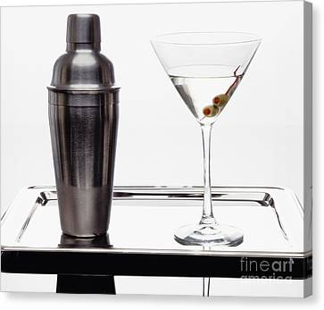 Classic Martini With Green Olives Canvas Print by George Oze