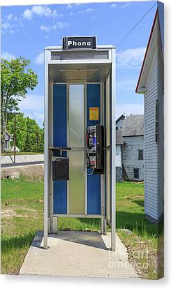 Classic Pay Phone Booth Canvas Print by Edward Fielding