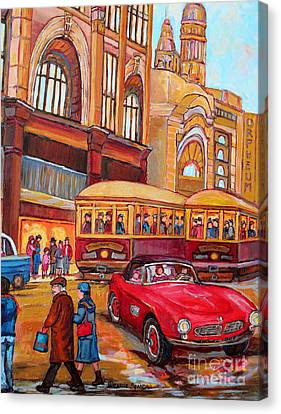 Classic Red Convertible Downtown Montreal Vintage 1946 Scene Canadian Painting Carole Spandau        Canvas Print by Carole Spandau