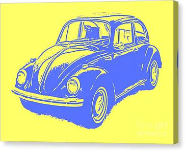 Classic Vw Beetle Tee Blue Ink Canvas Print by Edward Fielding