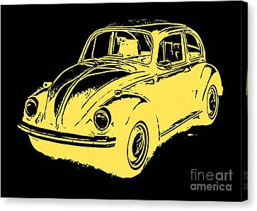 Classic Vw Beetle Tee Yellow Ink Canvas Print by Edward Fielding
