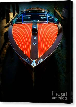 Classic Wooden Boat Canvas Print by Perry Webster
