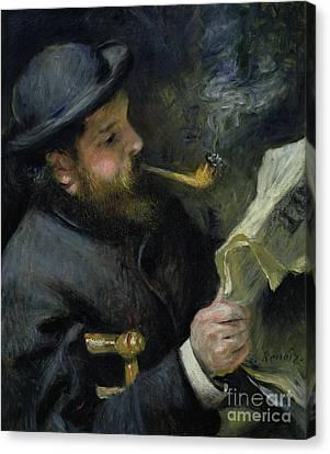 Claude Monet Reading A Newspaper Canvas Print by Pierre Auguste Renoir