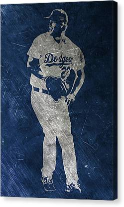 Clayton Kershaw Los Angeles Dodgers Art Canvas Print by Joe Hamilton