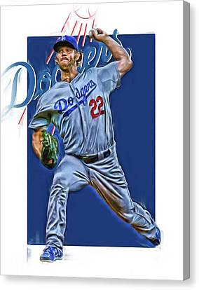 Clayton Kershaw Los Angeles Dodgers Oil Art Canvas Print by Joe Hamilton