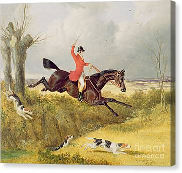 Clearing A Ditch Canvas Print by John Frederick Herring Snr