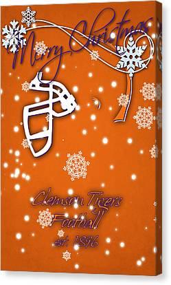 Clemson Tigers Christmas Card Canvas Print by Joe Hamilton