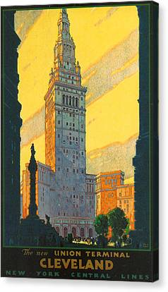 Cleveland - Vintage Travel Canvas Print by Georgia Fowler