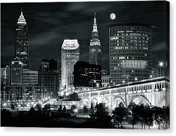 Cleveland Iconic Night Lights Canvas Print by Frozen in Time Fine Art Photography