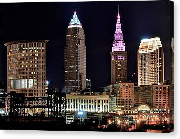 Cleveland Nightscape Canvas Print by Frozen in Time Fine Art Photography