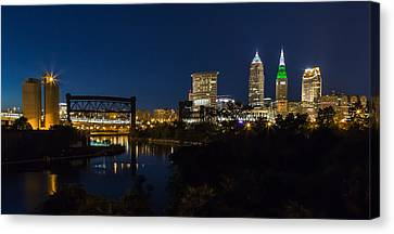 Cleveland Nightscpae Panoramic Canvas Print by Dale Kincaid