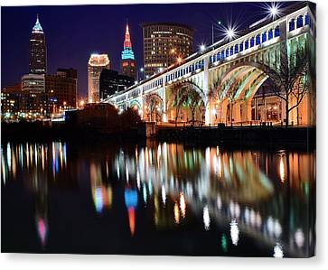 Cleveland Ohio Skyline Canvas Print by Frozen in Time Fine Art Photography