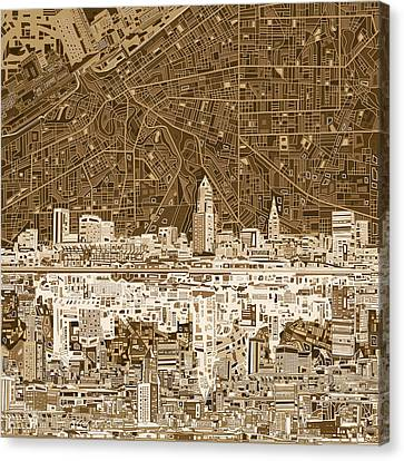 Cleveland Skyline Abstract 7 Canvas Print by Bekim Art