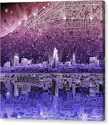 Cleveland Skyline Abstract Canvas Print by Bekim Art
