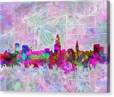 Cleveland Skyline Watercolor Canvas Print by Bekim Art