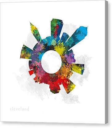 Cleveland Small World Cityscape Skyline Abstract Canvas Print by Jurq Studio