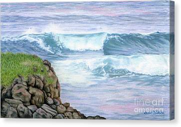Cliff By The Sea Canvas Print by Sarah Batalka