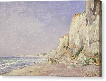 Cliffs Near Dieppe Canvas Print by Adolphe-Felix Cals