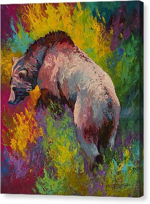 Climbing The Bank - Grizzly Bear Canvas Print by Marion Rose
