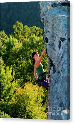 Climbing Up The Rock Canvas Print by Dan Friend