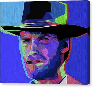 Clint Eastwood 303 By Nixo Canvas Print by Nicholas Nixo