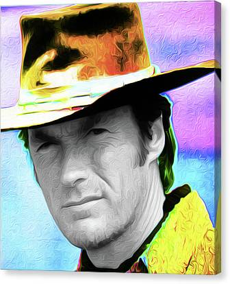 Clint Eastwood 33a By Nixo Canvas Print by Nicholas Nixo