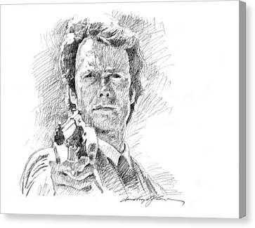 Clint Eastwood As Callahan Canvas Print by David Lloyd Glover