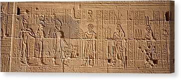 Close-up Of Carvings On A Wall, Temple Canvas Print by Panoramic Images