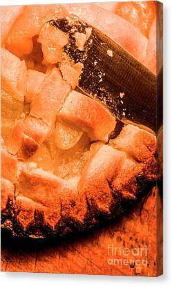 Close Up Of Knife Cutting Into Pie Canvas Print by Jorgo Photography - Wall Art Gallery