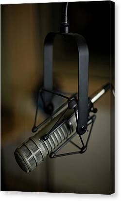 Close-up Of Recording Studio Microphone Canvas Print by Christopher Kontoes