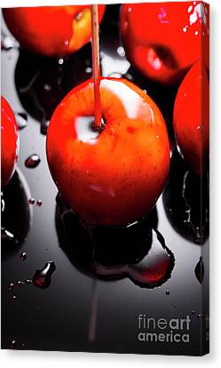Closeup Of Red Candy Apple On Stick Canvas Print by Jorgo Photography - Wall Art Gallery