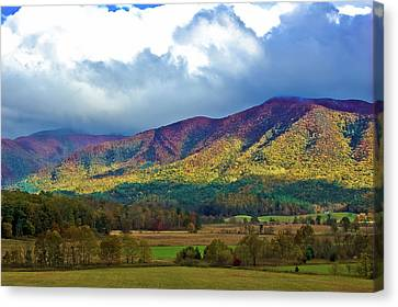 Cloud Covered Peaks Canvas Print by DigiArt Diaries by Vicky B Fuller