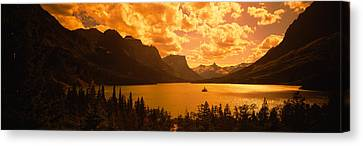 Clouds Over Mountains, Mcdonald Lake Canvas Print by Panoramic Images