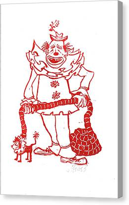 Clown With Dog Canvas Print by Barry Nelles Art
