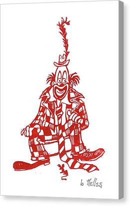Clown With Mouse Canvas Print by Barry Nelles Art