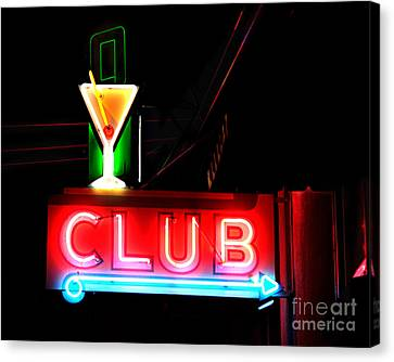 Club Neon Sign 16x20 Canvas Print by Melany Sarafis
