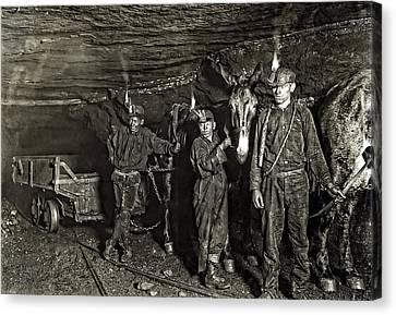 Coal Mine Mule Drivers  1908 Canvas Print by Daniel Hagerman