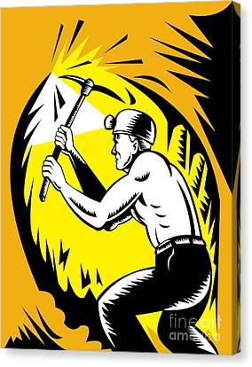 Coal Miner At Work Canvas Print by Aloysius Patrimonio