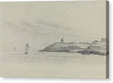 Coastal Landscape With Shipping - Windmill In Distance Canvas Print by Eugene Boudin