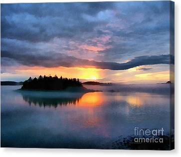 Down East Canvas Print featuring the painting Coastal Maine Sunset by Edward Fielding